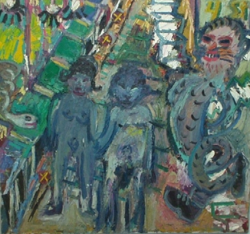 Jay Milder, Expulsion IND, 1966, oil on Canvas, 34 x 36 in.