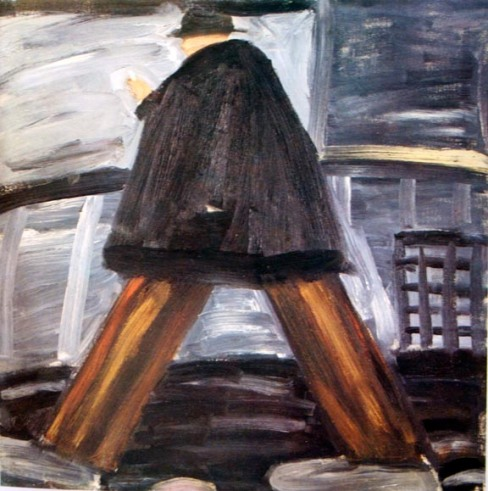 Red Grooms, Walking Man, 1959, Oil on canvas, 25 ¼ x 25 ¼ in. Courtesy of Yvonne Anderson