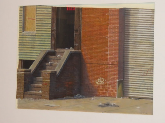 Michael Fuaerbach, Grove Street Brooklyn, 1984, acrylic on paper, 21 x 15 in.