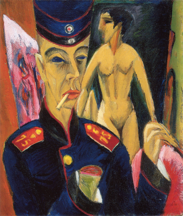 "Die Brücke member Ernst Ludwig Kirchner's ""Self Portrait as a Soldier"" (1915) expresses the traumas of war."