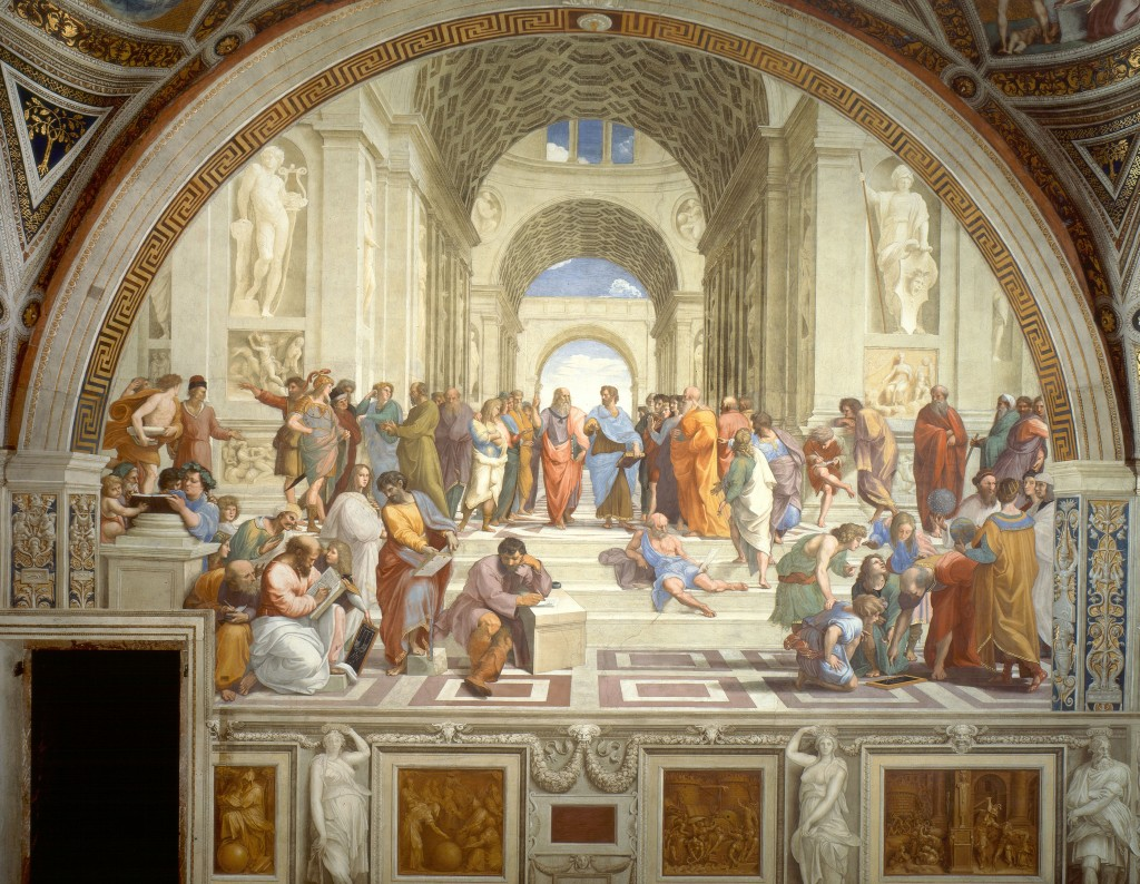 """The School of Athens"" (1509-1510) by Raphael Sanzio displays many essential ideals of the Renaissance: individualism, secularism and humanism."