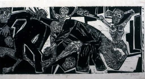 Nicholas Sperakis, Bowery Death Struggle, 1966, Woodblock print
