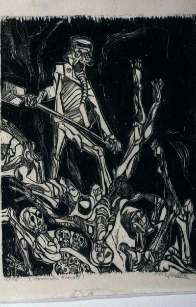 Nicholas Sperakis, Genocidal Furnace, 1967, Woodblock print