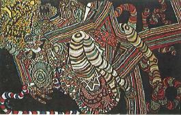 Nicholas Sperakis, The Pink Stripe Rape, c.1970, oil, coffee grinds, beeswax on canvas, 48 x 69 in.