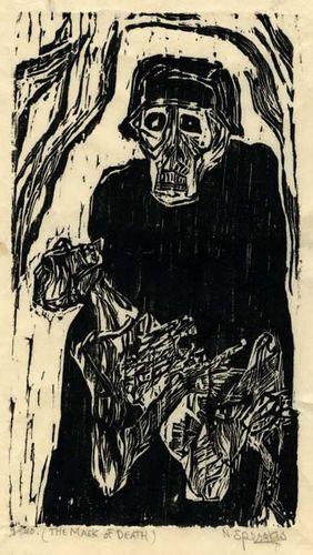 Nicholas Sperakis, Mask of Death, 1969, Woodblock print