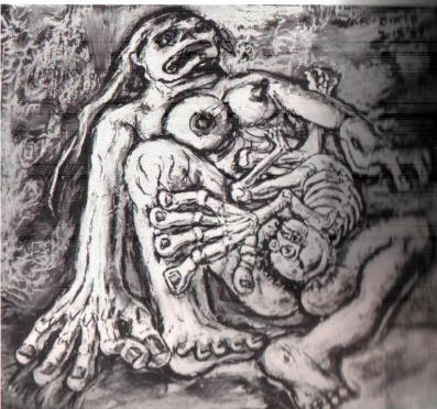 Peter Passuntino, War Birth, Peter Passuntino, War Birth, 1969, Ink, chalk, and watercolor, 14 x 14 in.