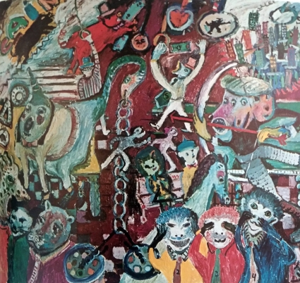"Jay Milder, The Demise of Cain on the IND, 1970, Oil on canvas, 84"" x 96"""
