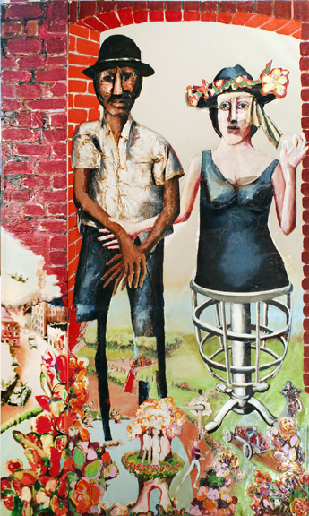 Benny Andrews, Benny Andrews, The Unmentionables, 1970, oil and collage on canvas, 108 x 64 ½ in.