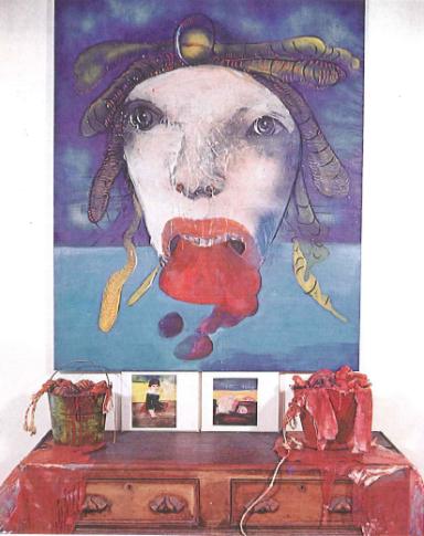 Leonel Góngora, El Resto De La Gorgona, c.1970, oil on canvas and mixed media, 66 x 54 in.