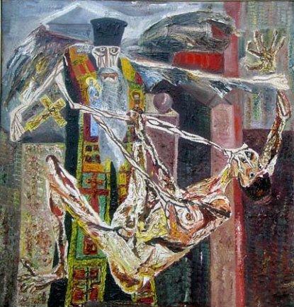 Nicholas Sperakis, Absolution, c.1968, oil on canvas, 76 x 73 in