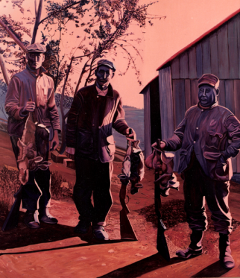 "Ken Bowman,  The Game Hunters, 1973, Oil on Canvas, 7' ¾"" x 7' ¼"""
