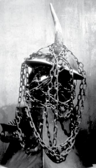 "Joseph Kurhajec, World War I Memorial, 1964, Metal, bone, forged iron, 2'x18"" Photo by Charles Winters"