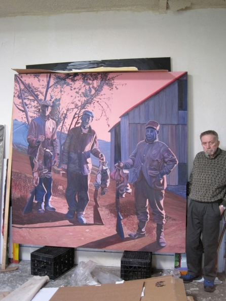"Ken Bowman with his painting ""The Game Hunters"""