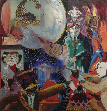 Peter Dean, Assasination of Malcom X, 1981, Oil on canvas, 72 x 68 inches