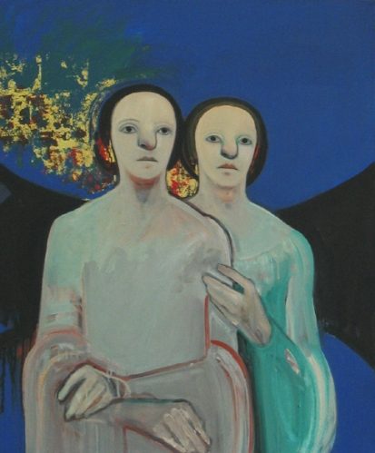 """Two Figures in Blue "" Collection of the Town of Provincetown"