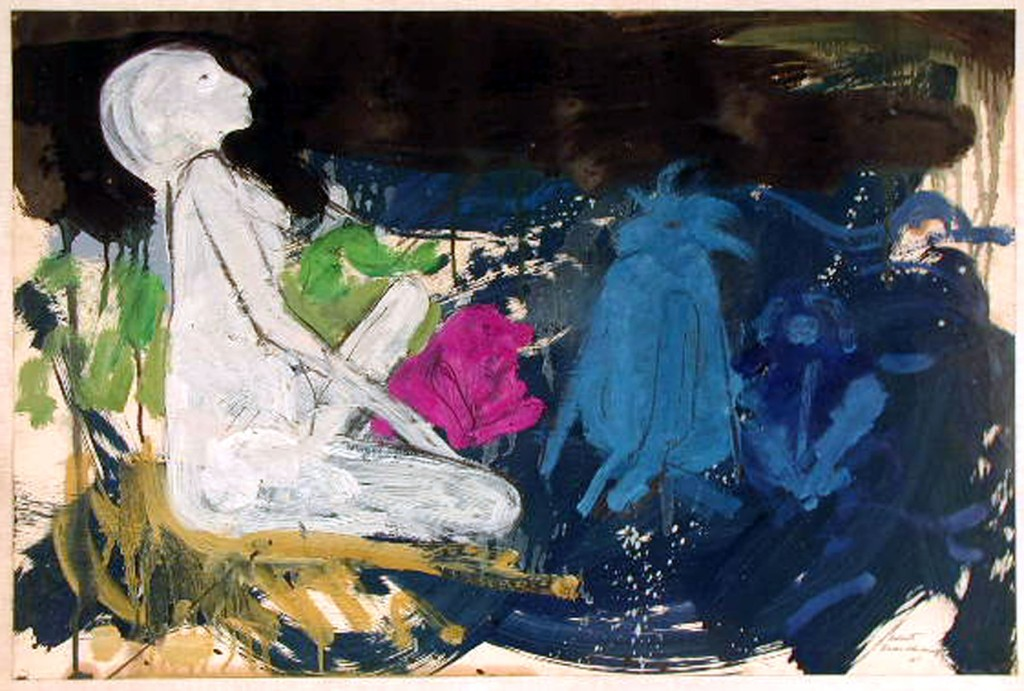 19.Robert Beauchamp Seated Nude with Blue Bulls, 1961, Acrylic on paper, 19.5x29.7 inches (Permanent collection at PAAM)