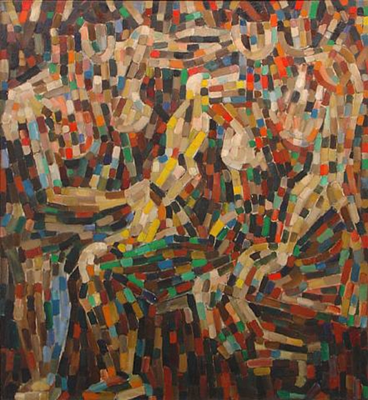 Jan Muller, Seated Figures, 1953, Oil on canvas, 54 x 49.5 in.