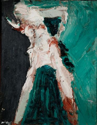 George McNeil, 1962, Jocasta, Oil on paper mounted on board, 14 x 11 inches.