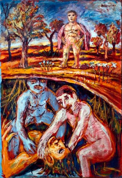 Peter Passuntino, Goliath Underground, 1964, Oil on canvas, 36 x 25 inches.