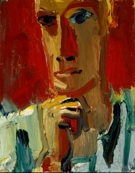 "David Park, ""Red Man in Striped Shirt,"" 1959, Oil on canvas, 18"" × 14"" at Hackett Mill."