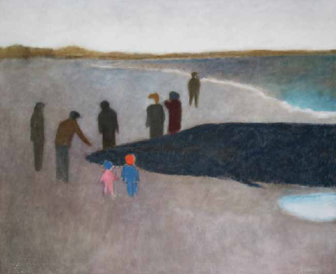 Tony Vevers, Whale on the Beach, 1960, Oil on canvas, 36 x 44 inches