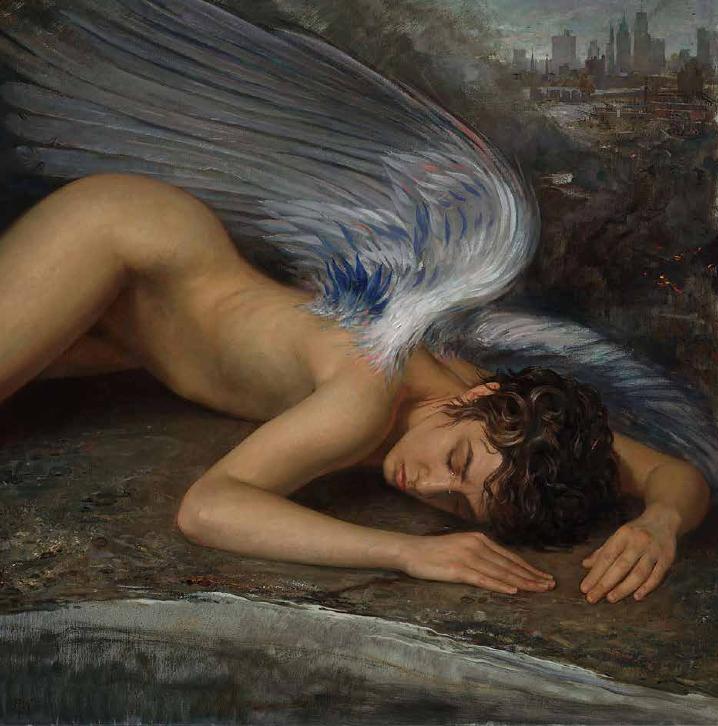 Patricia Watwood, Fallen Angel, 2012, Oil on canvas 30 x 30