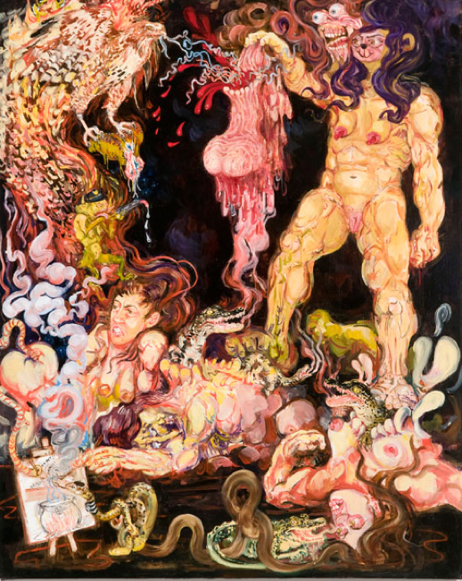 Dawn Frasch, The Sublime Comedy, 2012, oil on canvas, 48 x 38 inches.