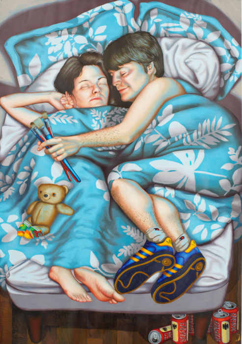 Tom and Alex in Bed, 2008, oil and acrylic on paper, 47 x 33 inches