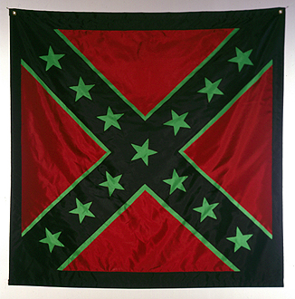 John Sims, Afro Battle Flag, 2000, nylon flag, 4 x 4 feet