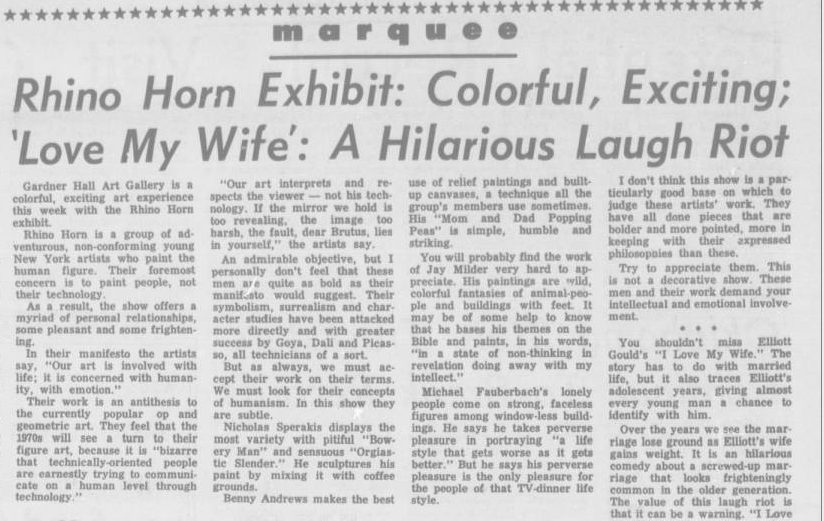 Daily O'Collegian, 1971-04-07: Rhino Horn Exhibit: Colorful, Exciting; 'Love My Wife': a Hilarious Laugh Riot
