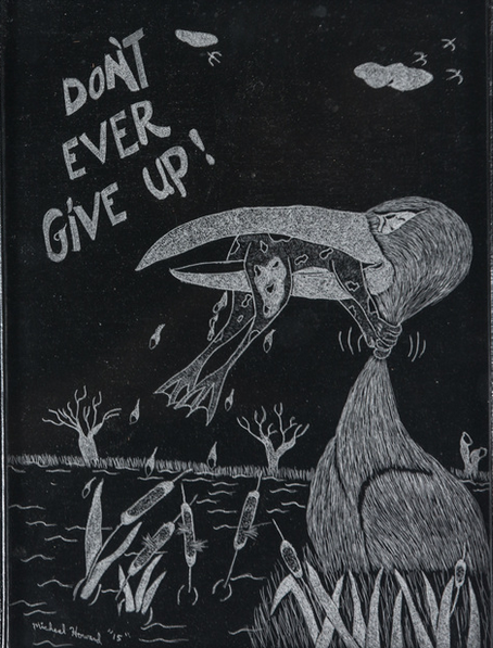 Michael Sawyer, Don't Ever Give Up, 2015, etching on glass, 12 x 9 inches