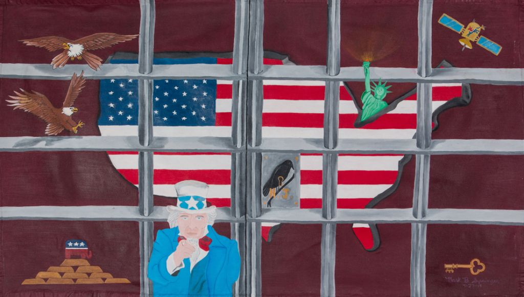 Mark Springer, No Justice, 2015, paint on canvas, unmounted, 48 x 24 inches