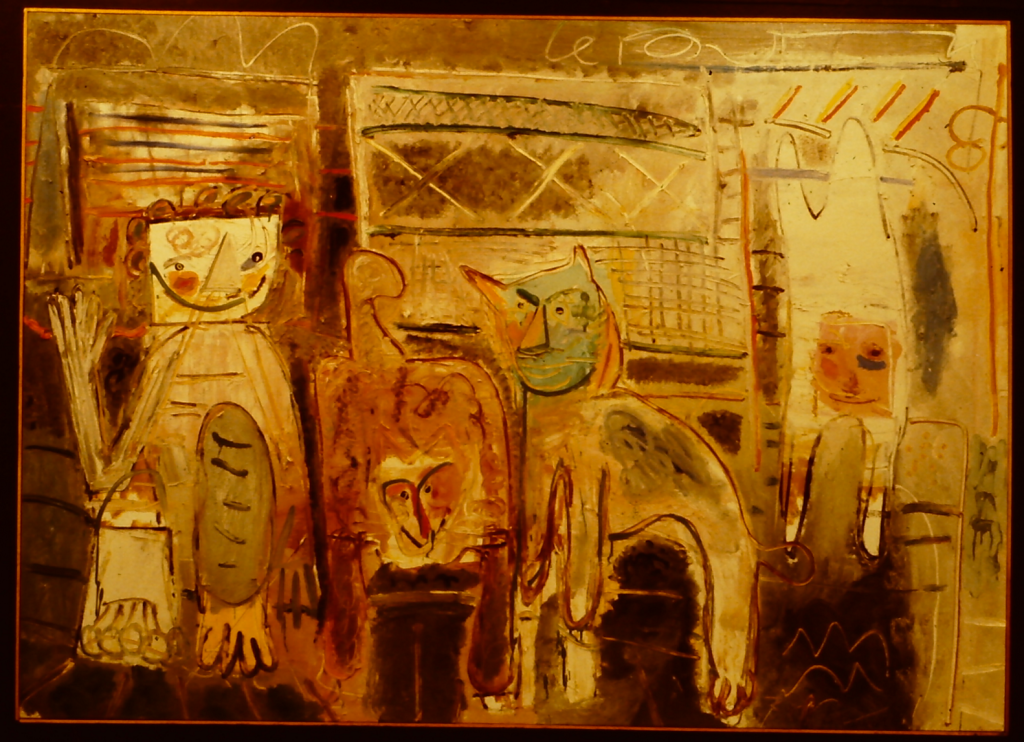 Bill Barrell, Tad in the Cat Room, 1977, Oil on canvas, 47 x 65 inches