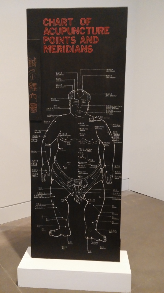 Bilingual chart of acupuncture points and meridians , 1990, acrylic and ink on panel laid on base